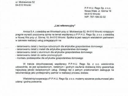 List referencyjny Amica S.A.